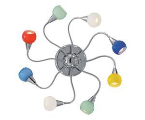 Applique a 8 luci in cromo e pasta di vetro - 80x9 cm