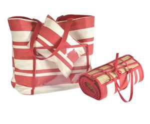 Set da spiaggia borsa + stuoia Beach - rosso e avorio