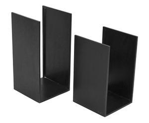 Set di 2 portalegna in ferro Wood nero - 30x30x60 cm