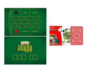 set di tappeto texas roulette + carte da bridge cristallo