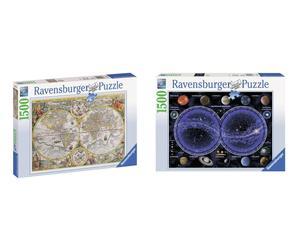 set di 2 puzzle planisfero e mappamondo - 1500 pezzi