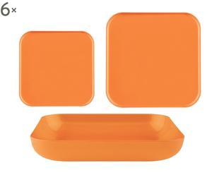 servizio di piatti in plastica arancione - 18 pezzi