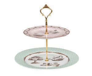 Alzata a 2 piani in ceramica Pasticcini - 27x27 cm