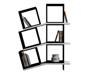 Libreria a 6 scomparti in nobilitato Balance nero/bianco - 100x147x25 cm