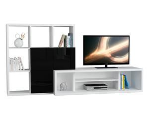Mobile tv con libreria Debi bianco/nero - 110x215x45 cm