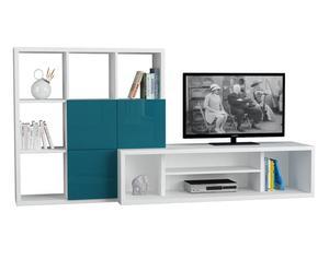 Mobile tv con libreria Debi bianco/turchese - 110x215x45 cm