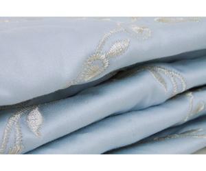 quilt matrimoniale king raso di cotone ricami - azzurro