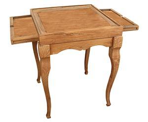 Tavolo in legno con ripiani portascacchi
