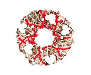 Ghirlanda in rattan con cuori in legno White Hearts