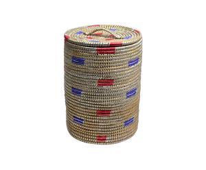 Cesto portabiancheria in kaisa e plastica con coperchio - A 43 cm