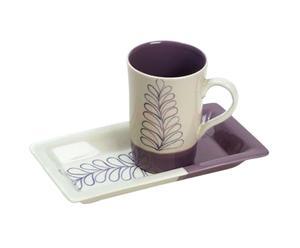 Set di 1 tazza con vassoio in ceramica lilla