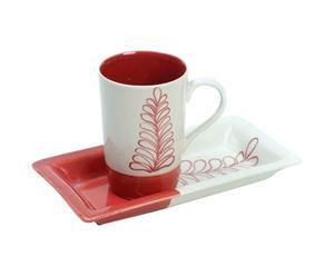 Set di 1 tazza con vassoio in ceramica rosso