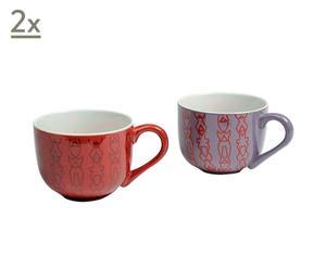 Set di 4 tazze da caffellatte in ceramica Totem - A 8 cm