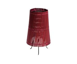 Lampada da tavolo in stecche di bambu' rossa - A 30 cm