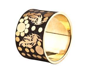 Bracciale in ottone con incisioni di pavone - oro e nero