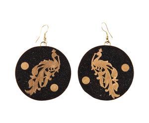 Orecchini in ottone con sagome di pavoni - nero e oro