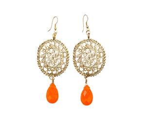 Orecchini in filigrana di ottone con pietre - oro e arancio