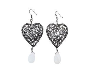 Orecchini in filigrana di ottone a cuore con pietre - argento