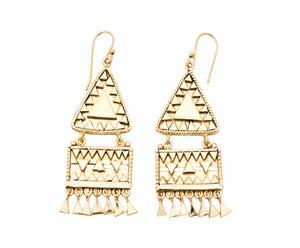 Orecchini in ottone a doppio pendente geometrico - oro