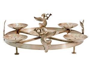 Portacandele tondo in argento con angeli India - 15x35x35 cm