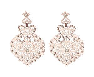 Orecchini in ottone e Swarovski con pendenti a cuore rosa