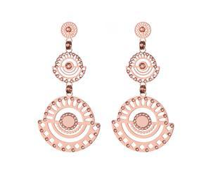 Orecchini in ottone e Swarovski con doppi pendenti rosa