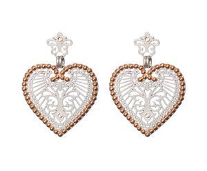 Orecchini in ottone con pendenti a cuore e bordo Swarovski argento