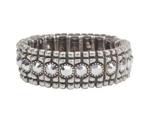 Bracciale in ottone e pietre ad anello argento
