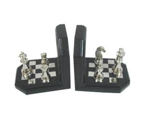 Set di 2 fermalibri in legno con scacchi in alluminio - 15x15x12 cm