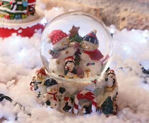 Carillon waterball in poliresina e vetro Snowman
