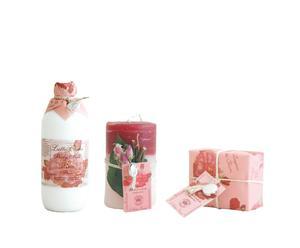 Set benessere con candela Rosa - idratante