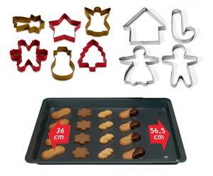 Set di 10 tagliabiscotti + 1 teglia NATALE