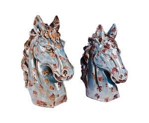 Set di 2 statue in ceramica Antik Horse