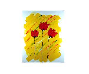 Dipinto olio su tela Fiori solitari - 50X60 cm