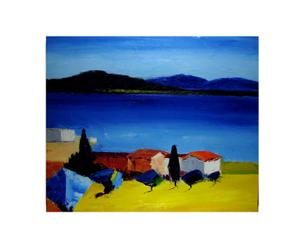 Dipinto olio su tela Al lago - 50X60 cm