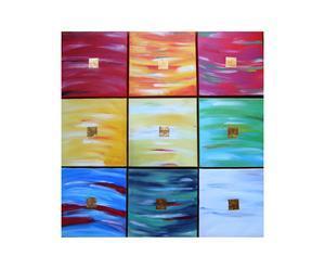 Composizione di 9 pannelli olio su tela Riquadri preziosi