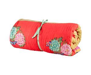 Quilt in cotone Queen rosso, verde e giallo - 270X220 cm