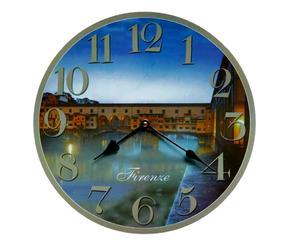 Orologio da parete in legno Ponte Vecchio Firenze - D 34 cm
