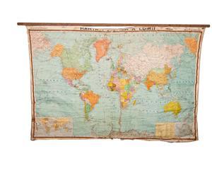 Carta geografica mappa politica del mondo - epoca 1985