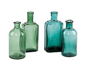Set di 4 bottiglie da farmacia in vetro verde e blu
