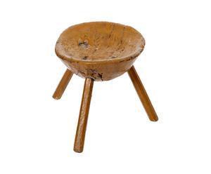 Sgabello rustico rotondo in legno giallo - 34X49X45 cm