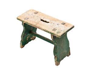 Sgabello rustico rettangolare in legno verde - 44X30X20 cm