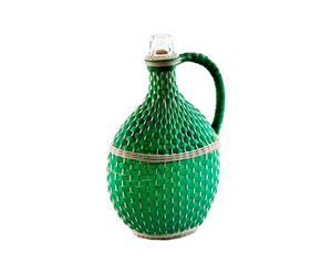 Fiasco ovale per il vino in vetro verde - A 36 cm
