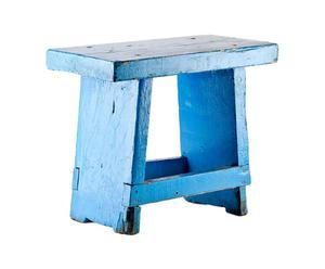 Sgabello in legno design 1950 azzurro