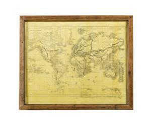 Mappa su carta con cornice in legno Mondo- 56x46 cm