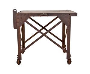 Consolle industriale in ferro e legno - design anni '50