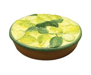 Tortiera in ceramica con coperchio Limone - D 28 cm