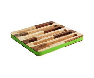 Sottopentola a righe con bordo in silicone verde lime