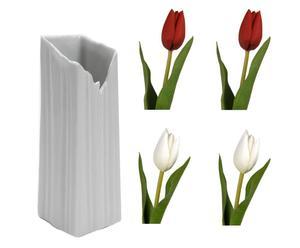 set di 1 vaso e 4 tulipani in porcellana e poliestere iceberg