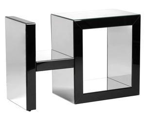 mobile porta tv in vetro e mdf nero - 90x60x35 cm